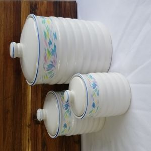 Vintage 1980's White Glazed Abstract Pastel 6-Piece Canister Set